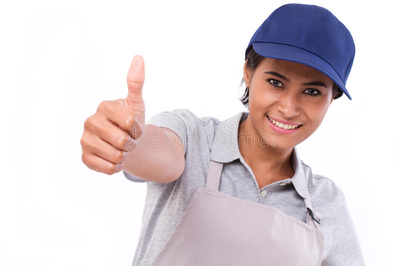 Female service staff giving thumb up gesture. White background stock photos