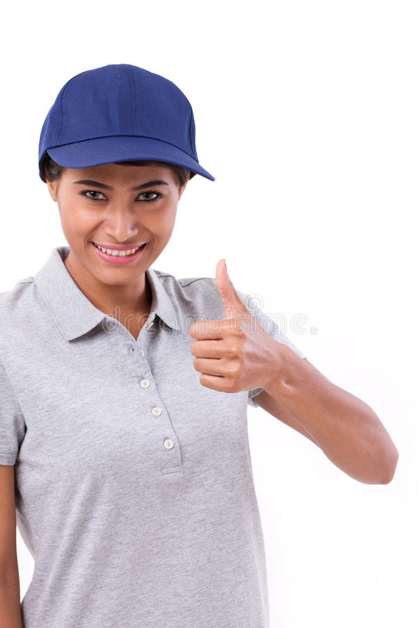 Female service staff showing thumb up. Hand gesture stock photos
