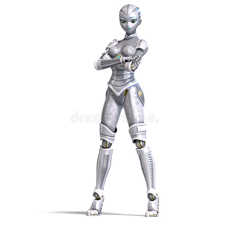 Download Female Metallic Robot. 3D Rendering With Royalty Free Stock Photos - Image: 14576258