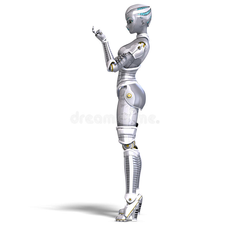 Female metallic robot. 3D rendering with stock illustration