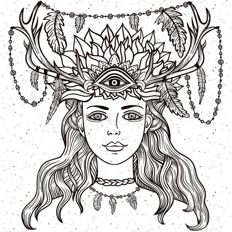 Female shaman portriat. royalty free illustration
