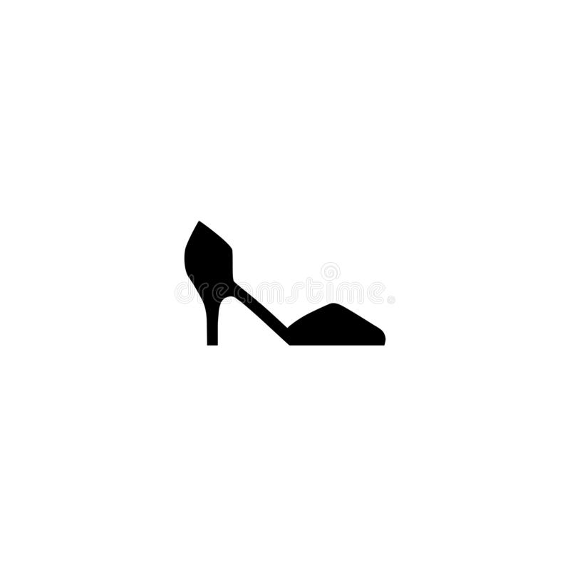 Female shoe with high heel. Elegant black court shoe isolated on while background. Vector illustration. Good for wrapping, print, wallpaper vector illustration