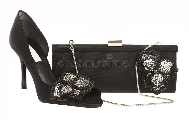 Female shoes and handbag stock photography