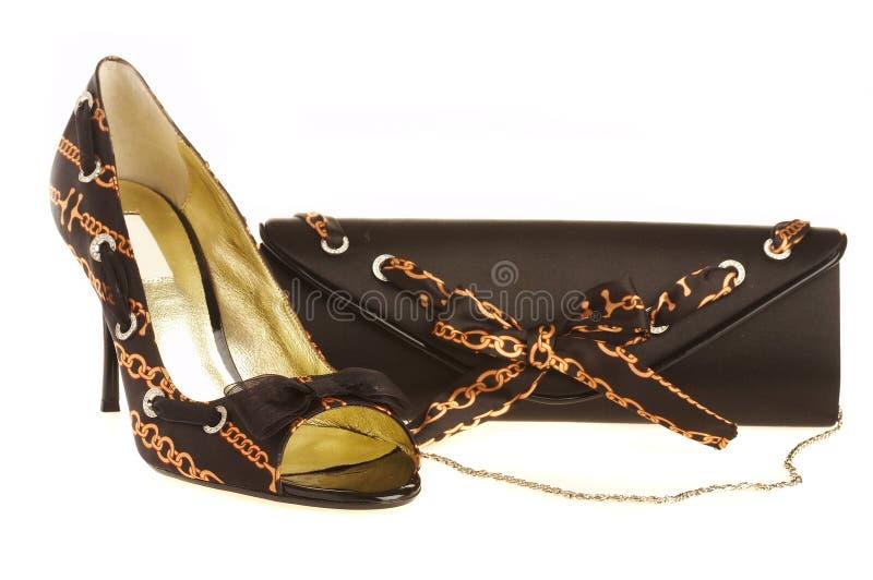 Female shoes and handbag stock photo