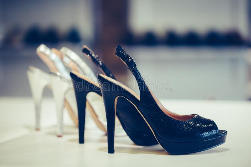 Female shoes new collection with beautiful high heels stock photography