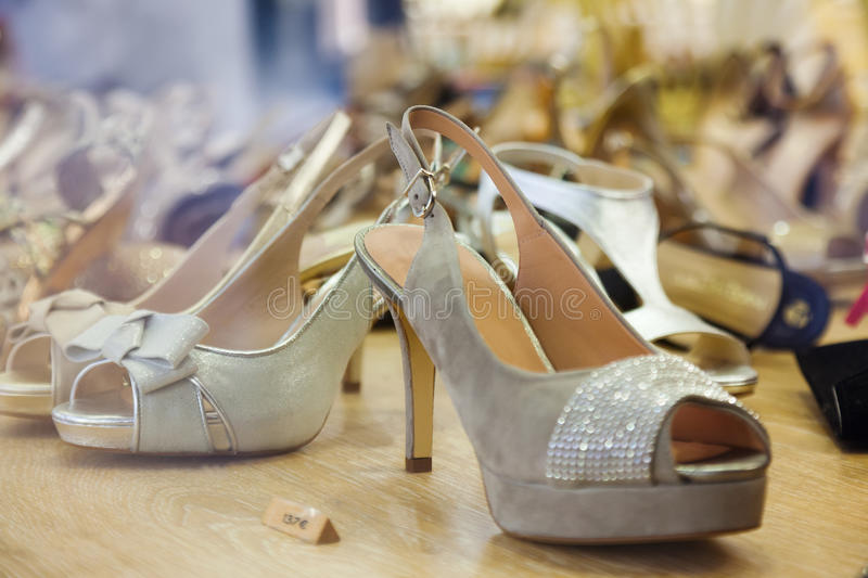 Female shoes at store royalty free stock photos