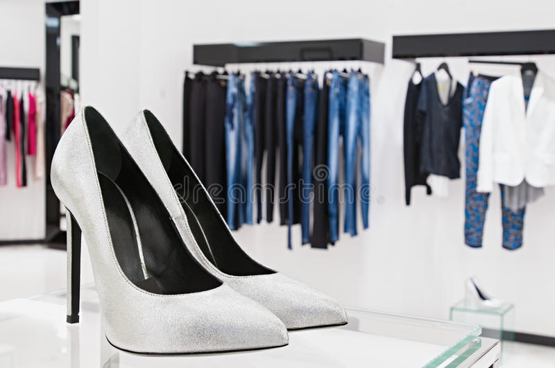 Female shoes. Women's shoes at the Fashion retail shop royalty free stock photo