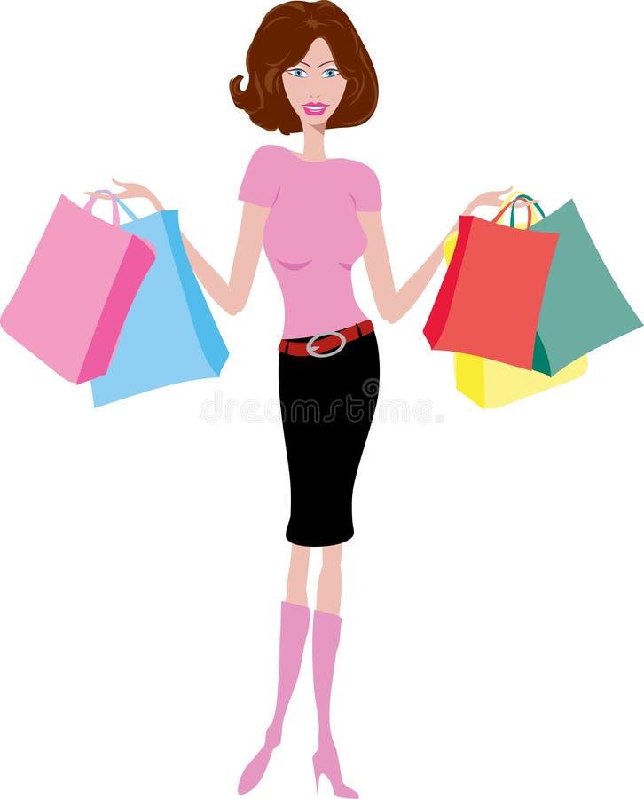 Download Female shopper stock vector. Image of hair, shopper, girl - 1250077
