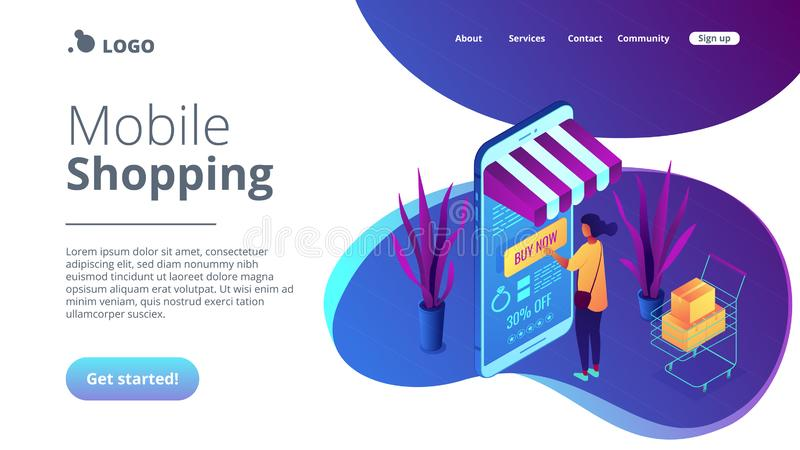 Online purchase concept Isometric 3D landing page. Female shopper buying with mobile phone and shopping cart with purchases. Online purchase and order, buy now vector illustration