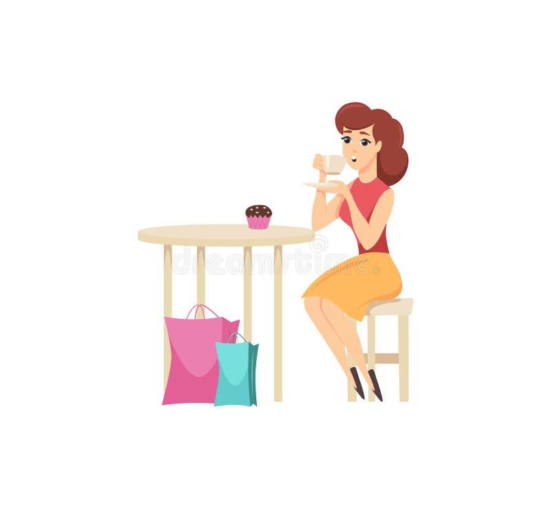 Female Shopper Tired from Shopping Eating Vector vector illustration