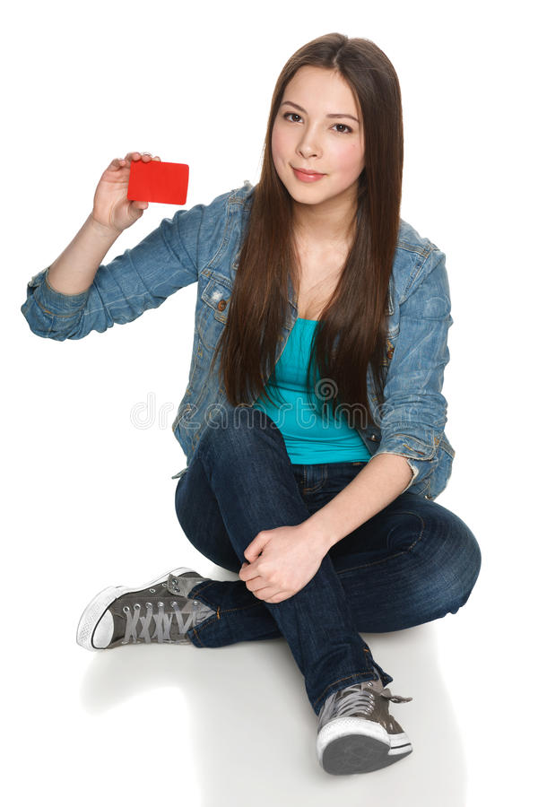 Female showing blank credit card stock photos