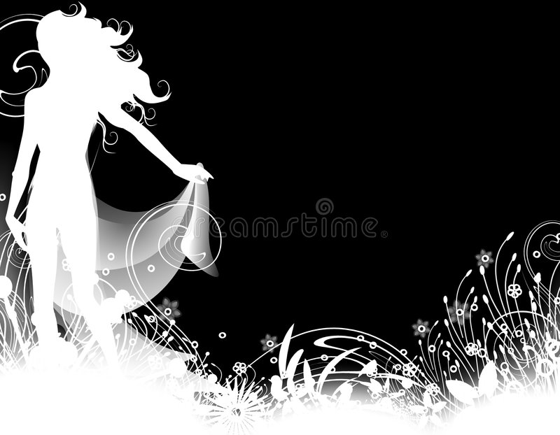 Female Silhouette Garden 2 stock illustration