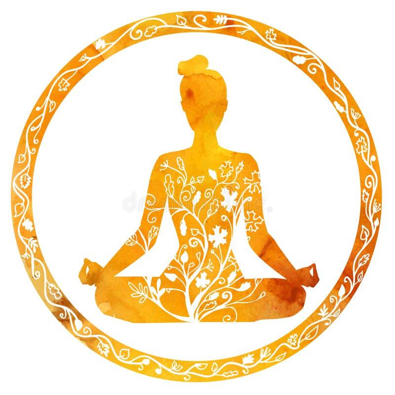 Free Female Silhouette In Yoga Lotus Pose. Stock Image - 58671231