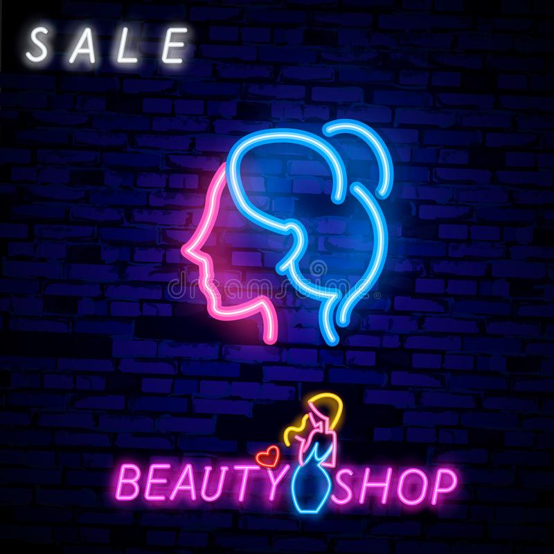 Girl`s face in the neon style Sign for women`s hall. Female silhouette neon light icon. Ladies WC door glowing sign stock illustration