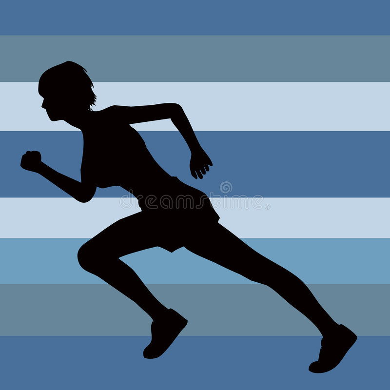 Female silhouette runner clipping path stock image