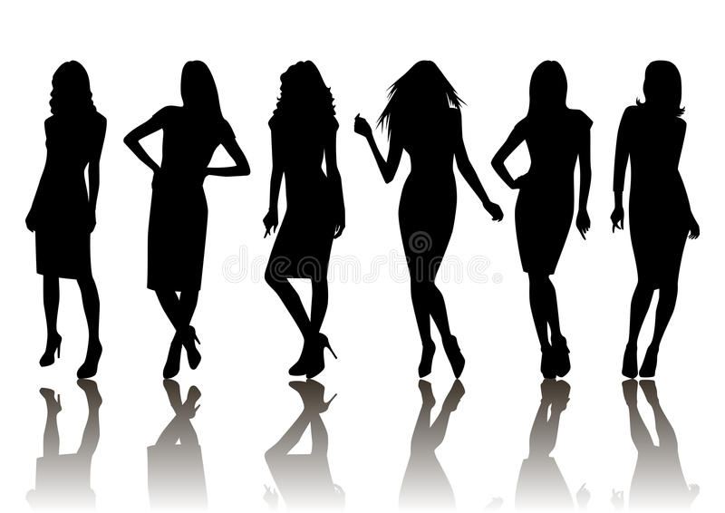 Female silhouette set royalty free illustration