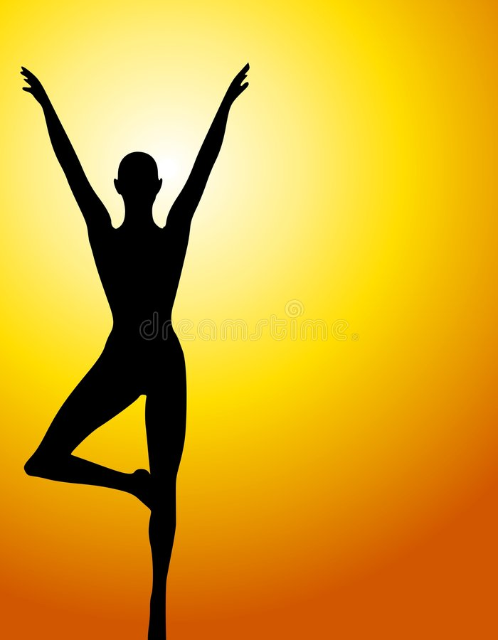 Female Silhouette Sunset Yoga. An illustration featuring a female sillhouette standing against a sunset background in a yoga or fitness positions vector illustration