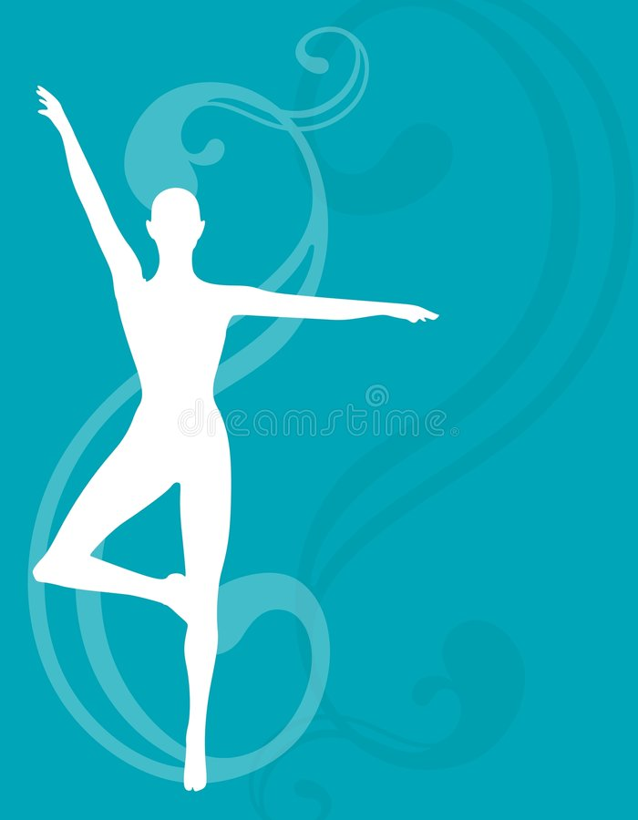 Female Silhouette Yoga Blue Swirl. An illustration featuring a female sillhouette standing against a blue swirling design background in a yoga or fitness vector illustration