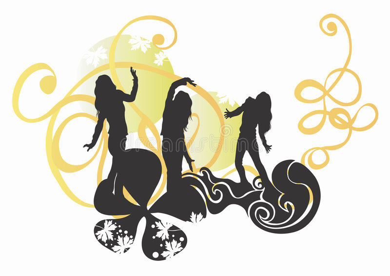 Female silhouettes stock photography