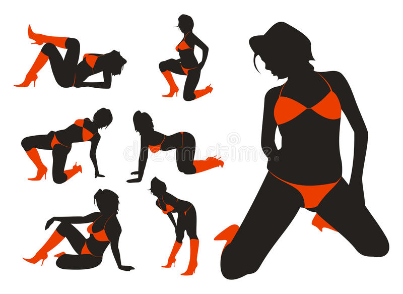 Download Female silhouettes stock vector. Image of people, shoes - 9417821