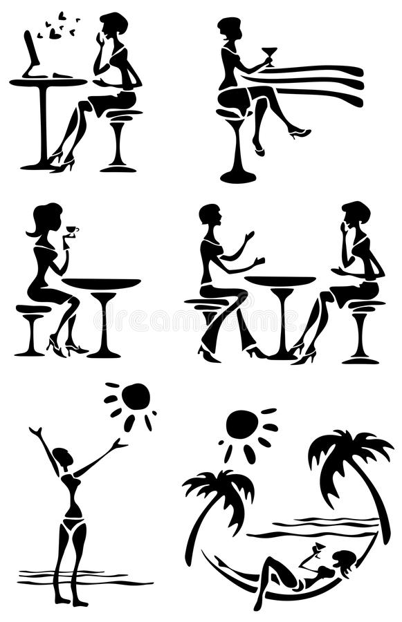 Free Female Silhouettes Stock Image - 9564821