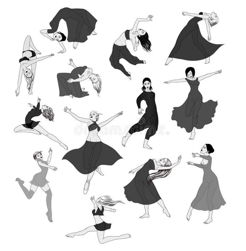Female silhouettes in dance. Silhouette of dancers simple. Female silhouettes in dance. Silhouette of dancers vector illustration stock illustration