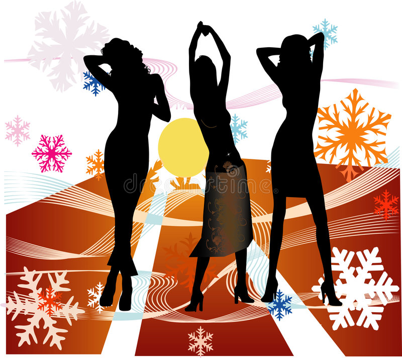 Download Female Silhouettes Dancing In A Disco Stock Image - Image: 1258451
