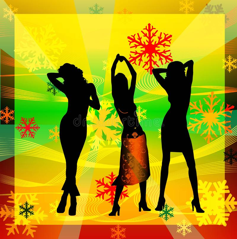 Female silhouettes dancing in a disco royalty free stock photo