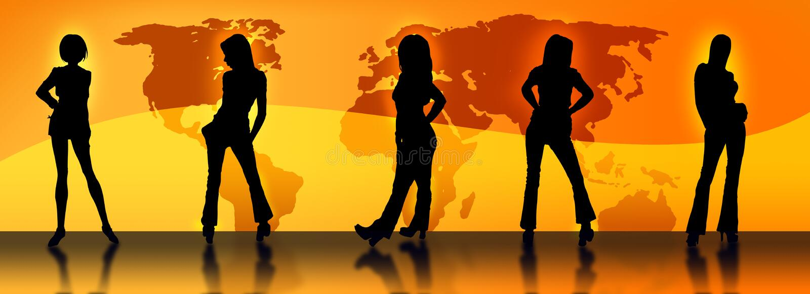 Female silhouettes and a map
