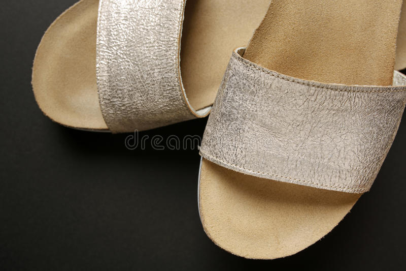 Female silver elegant shoes stock images