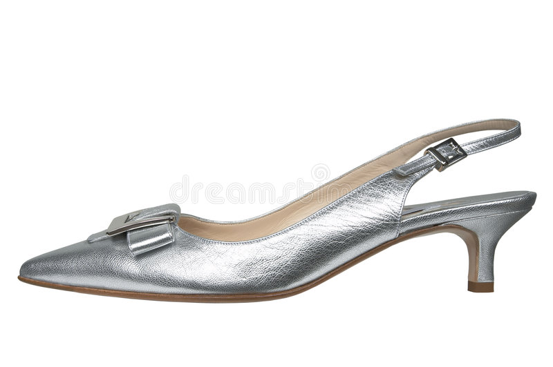 Female silver shoes stock photo