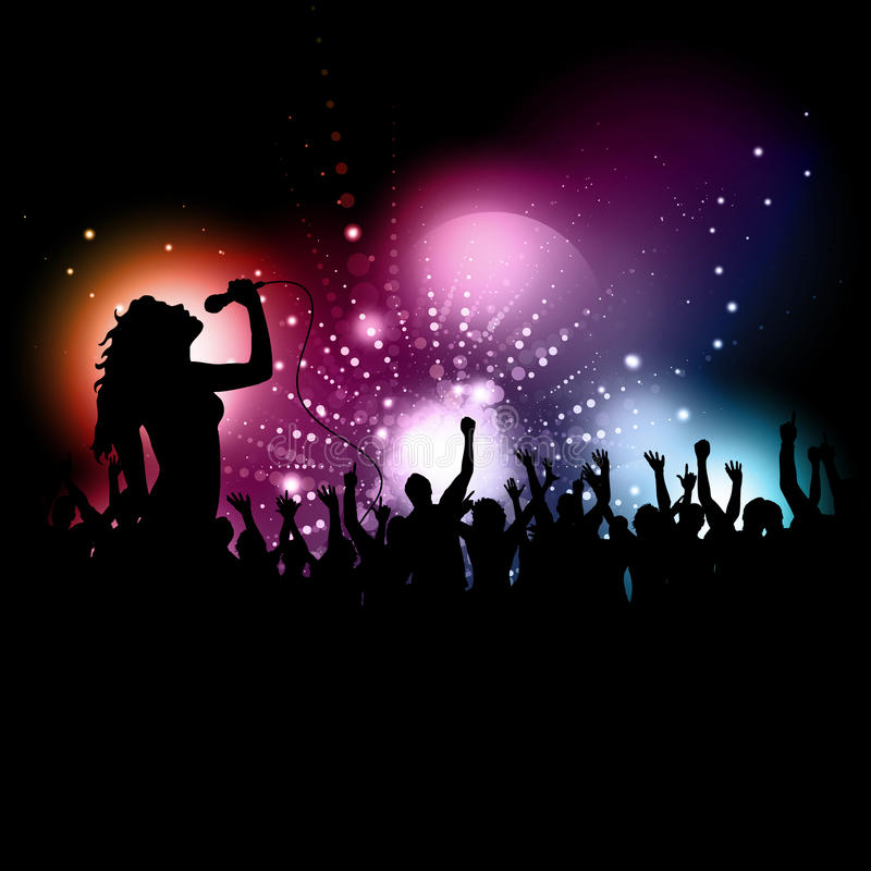 Female singer performing. Silhouette of a female singer performing in front of an audience
