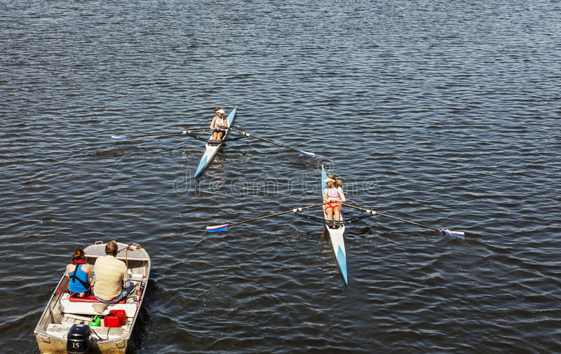 Single Scull Rowing Competitor On The Neckar River During