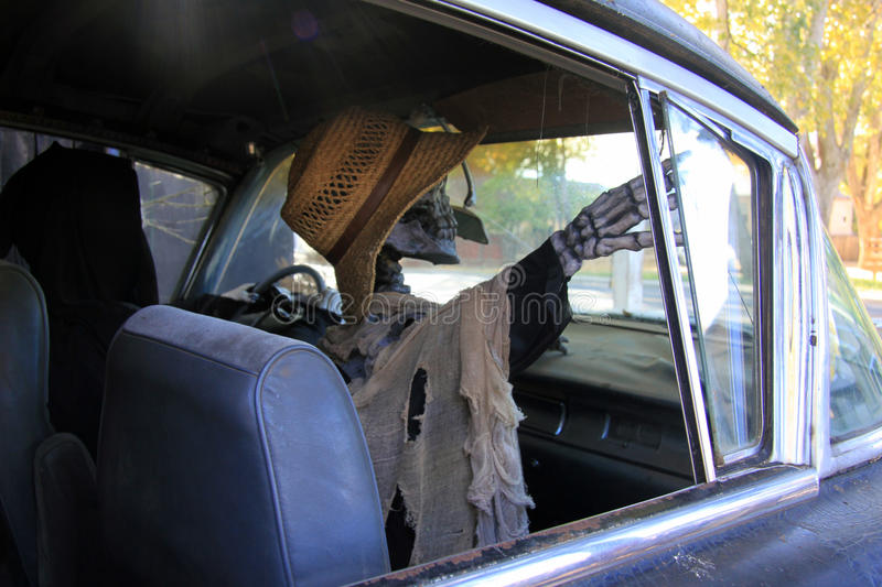 Female skeleton in hearse. A life-sized female skeleton in a straw hat points out the window of a hearse during Halloween season stock photography