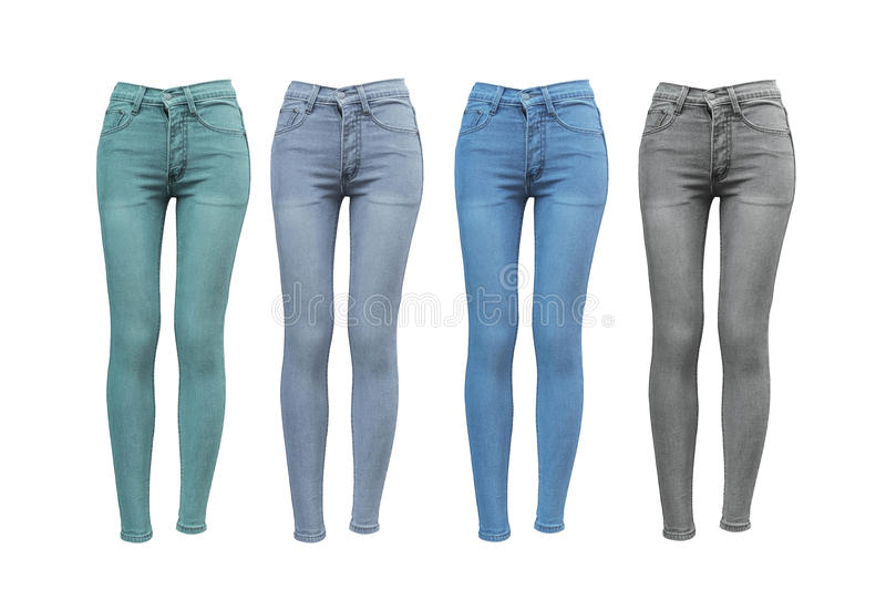 Female skinny jeans. In different color royalty free stock image