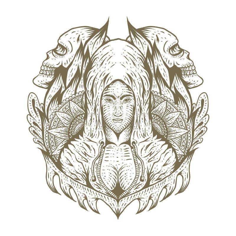 female skull decoration hand draw stock illustration