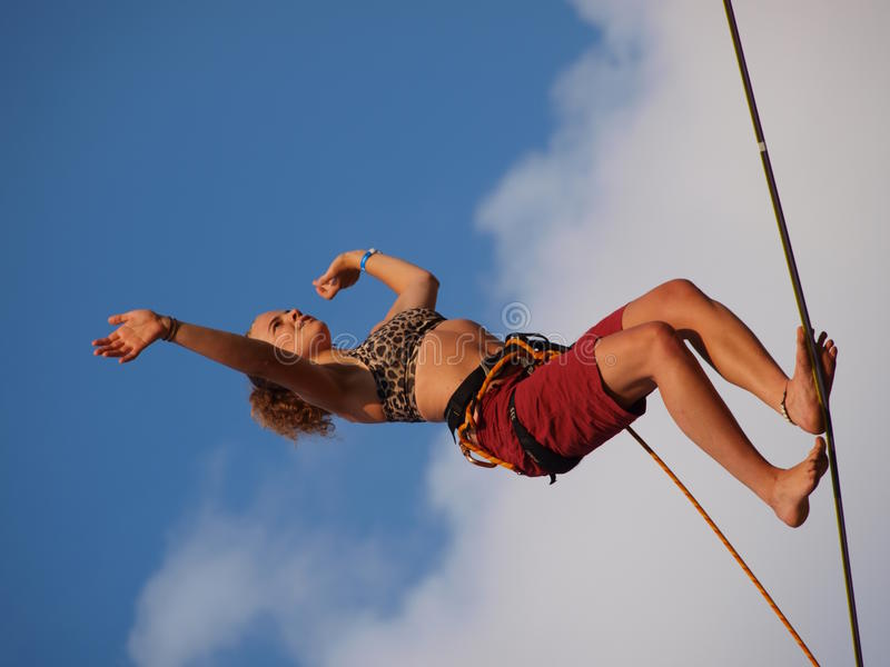Female slackliner, Lublin, Poland stock photo