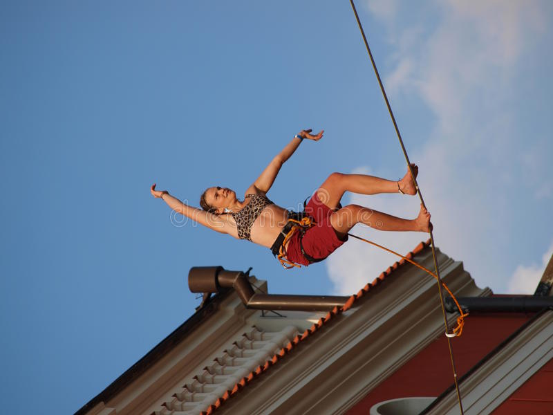 Female slackliner, Lublin, Poland royalty free stock photo