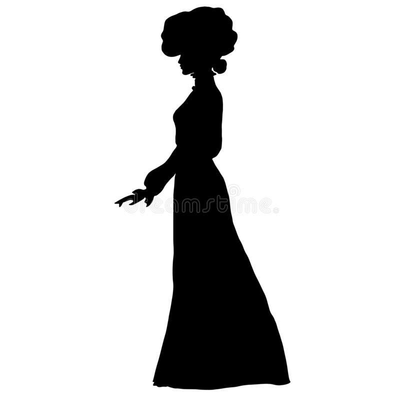Female slim silhouette in long dress, large round hat of early 20th century. Frill, combed hair, top knot. For posters, prints, design, covers, fabric, logos stock illustration
