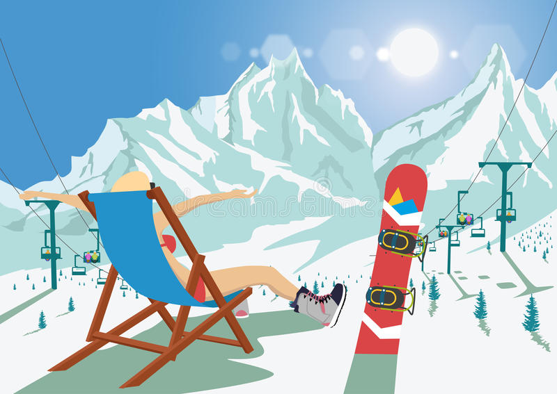 Female snowboarder in bikini sitting in deck chair relaxing in mountain ski resort. Bright sun and ski chair lift royalty free illustration
