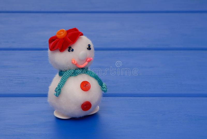 Female snowman on New Year`s post card, snowmans on Christmas c stock photos