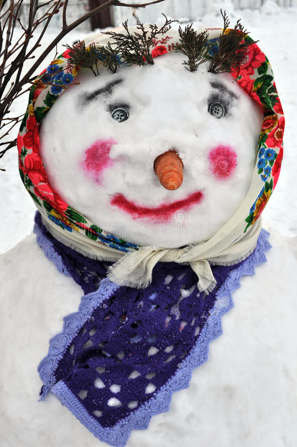 Female snowman in ukrainian style. Close-up of female snowman in ukrainian style royalty free stock photo