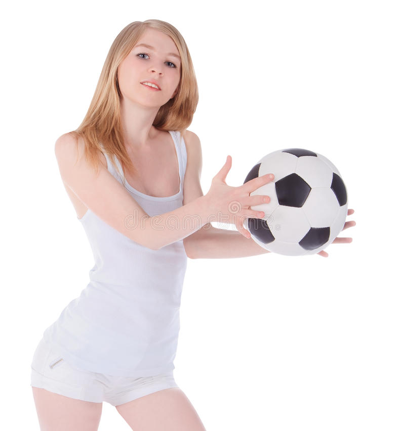Female with soccer ball on white background stock images