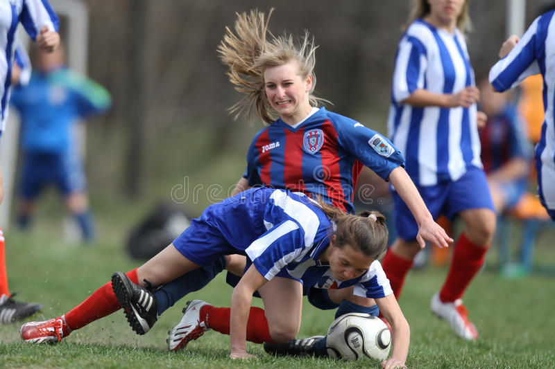 Female soccer intense competition royalty free stock images