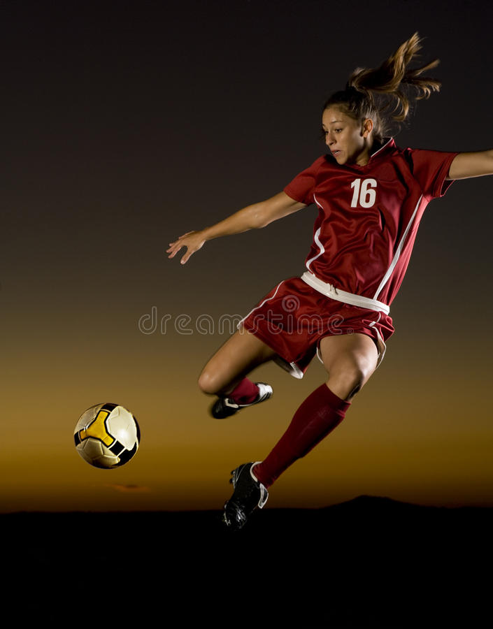 Free Female Soccer Player About To Kick The Ball Stock Image - 11276061