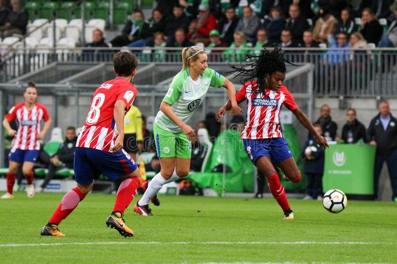 Female soccer player, Ludmilla da Silva, in action during UEFA Women`s Champions League stock images
