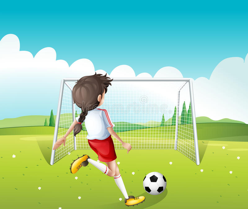 A female soccer player in a white uniform vector illustration