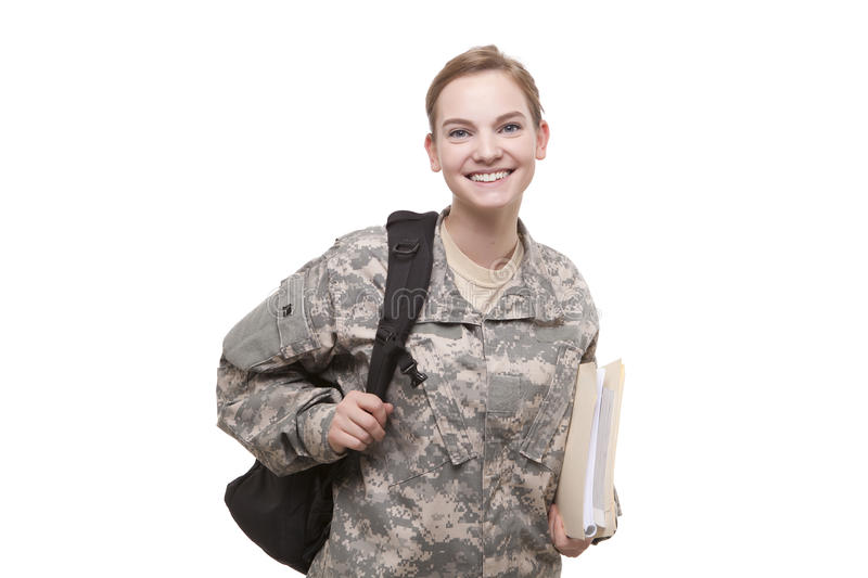 Female soldier with backpack and file royalty free stock photography