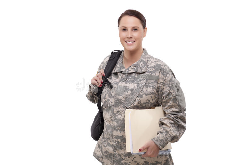 Download Female Soldier With Documents And Backpack Royalty Free Stock Photos - Image: 32010998
