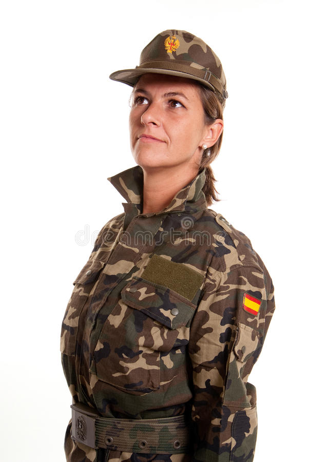 Download Female Soldier Standing To Attention Stock Photo - Image: 21351390